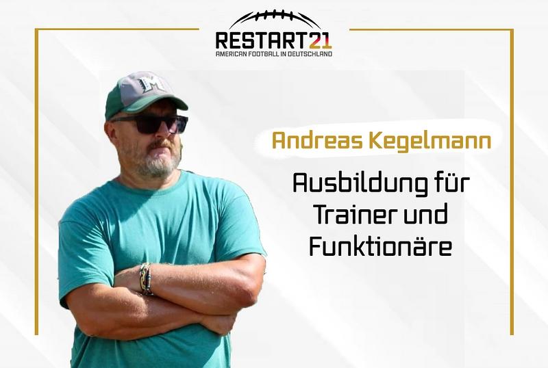 Grafik RESTART21 Ausbildung Trainer und Funktionäre, links Bild von Andreas Kegelmann