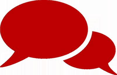 Symbolgrafik: Zwei rote Sprechblasen
