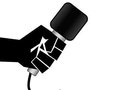 Symbolbild Interview. Grafik: Hand hält Mikrofon