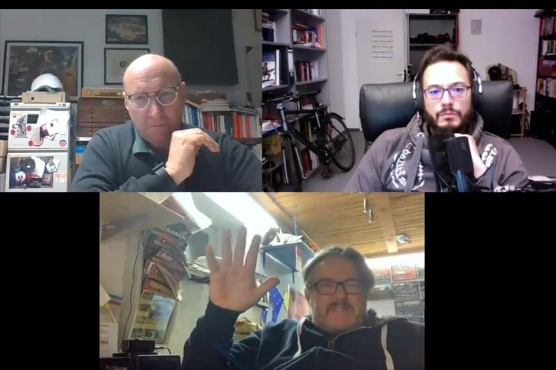 Screenshot Videomeeting mit Alexander Sperber, Harold McMillan und Andreas Kegelmann