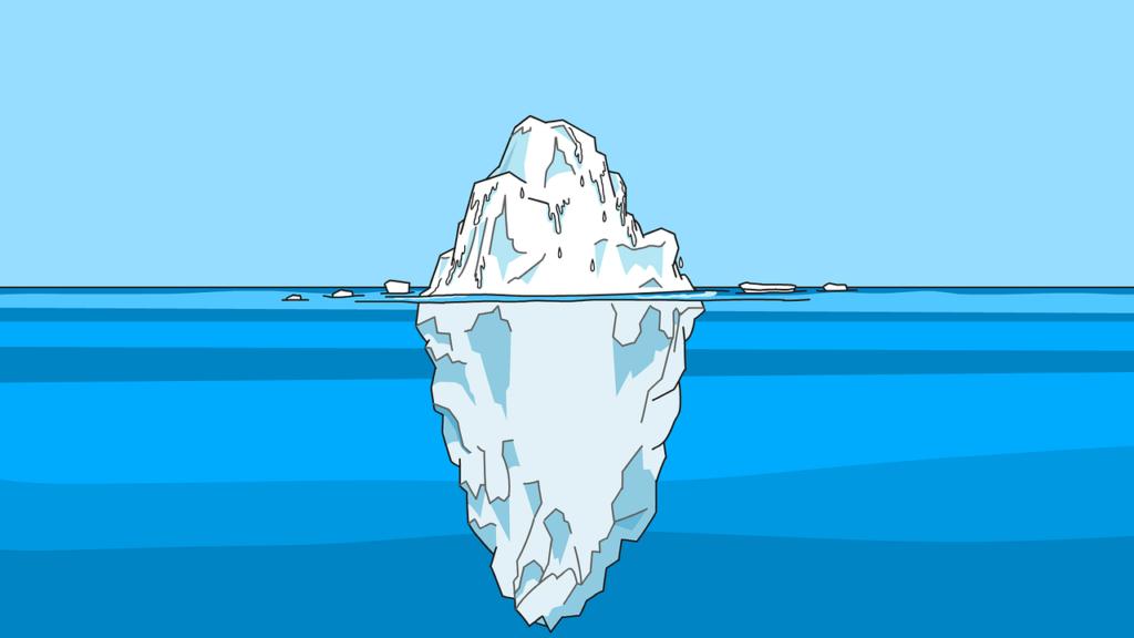 Grafik: Die Spitze des Eisbergs über, der größte Teil des Eisbergs unter Wasser. Symbolbild für den Artikel Die 5 größten Irrtümer zu RESTART21
