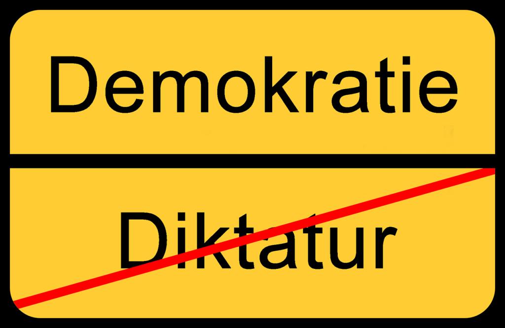 Grafik gelbes Strassenschild: oben Demokratie, unten durchgestrichen Diktatur. Symbolbild für den Artikel Die 5 größten Irrtümer zu RESTART21