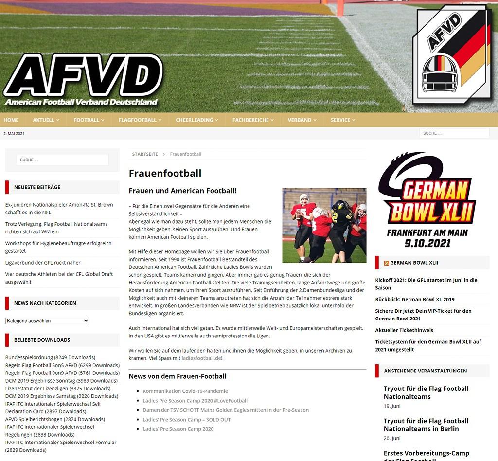 Screenshot 01.05.2021 Webseite afvd.de, Kategorie Frauenfootball