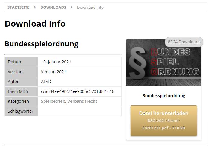 Screenshot Download-Info zur BSO auf der AFVD Webseite vom 02.06.2021