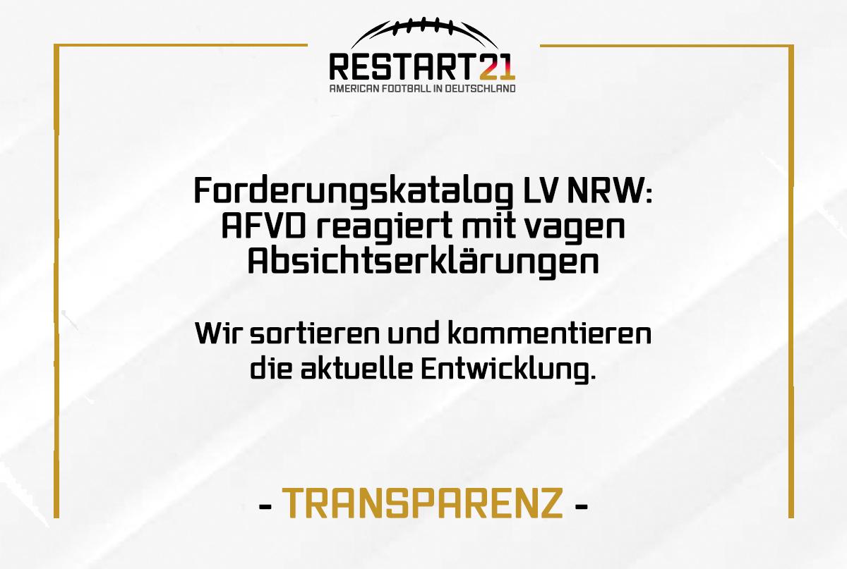 Schriftgrafik Forderungskatalog NRW: AFVD reagiert mit vagen Absichtserklärungen